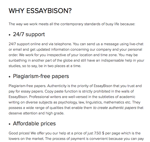Review of EssayBison.com Writing Service